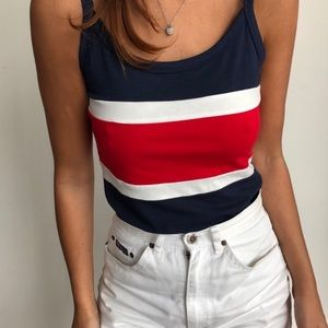 Heart & Hips navy red and white stripe top S